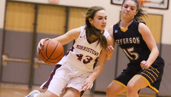 Morristown junior guard Elizabeth Strambi tries to