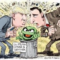Trump Cruz and Oscar the Grouch
