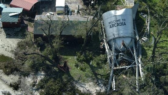 The water tower in Arcadia  is shown Aug. 14, 2004, after it was destroyed by Hurricane Charley.