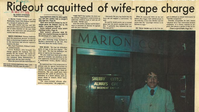 John Rideout leaves Marion County Courthouse Dec. 27, 1978 after a circuit court jury found him innocent of raping his wife Greta.