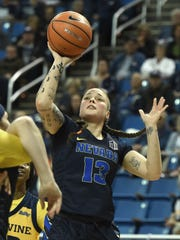 Nevada's T Moe goes up to shoot against UC Irvine in
