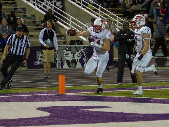 SUU's Taylor Nelson returns an interception for a touchdown