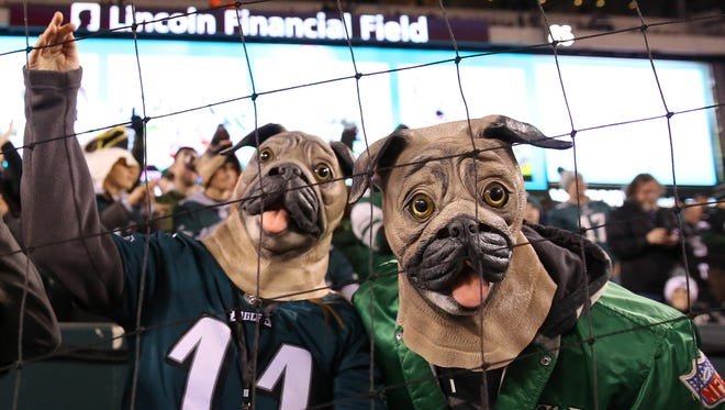 Philadelphia Eagles fans cheer from the stands prior to the NFC Championship Game against the Minnesota Vikings at Lincoln Financial Field.