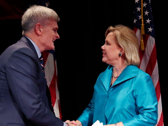 Sen. Mary Landrieu, D-New Orleans, greets Rep. Bill Cassidy, R-Baton Rouge, before a Senate campaign debate this past week at Centenary College in Shreveport.