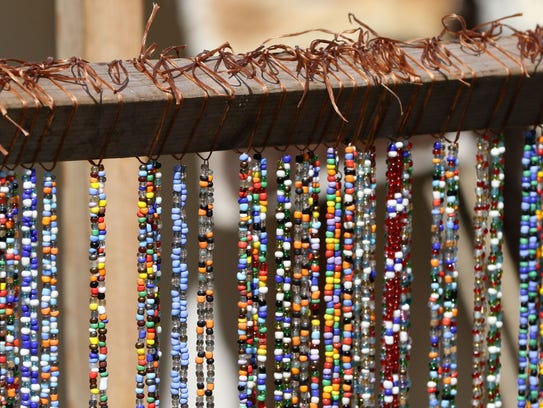 Traditional native American beads for sale during the