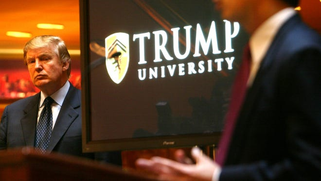 Donald Trump, shown in 2005 during the establishment of Trump University at a news conference in New York.