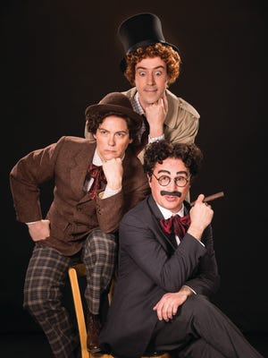 """Tasso Feldman (top) as Harpo (Silent Red), Jim Poulos as Chico (Willie Wony Diddydony), and John Plumpis as Mr. Hammer (Groucho) in the Utah Shakespeare Festival's 2016 production of """"The Cocoanuts."""""""