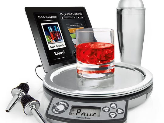 """The Perfect Drink from Brookstone connects to your smartphone or tablet to give you step-by-step directions with a virtual """"glass"""" that fills up as you pour."""