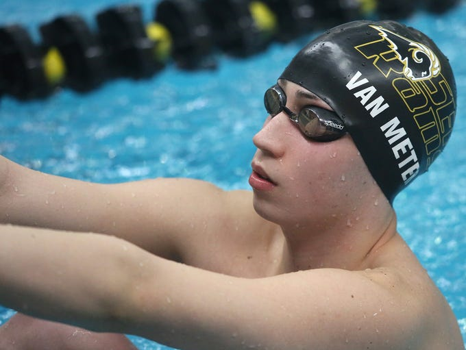Southeast Polk senior John Van Meter prepares to swim