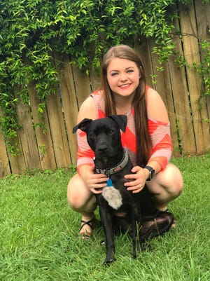 """Caitlin Barnett, a veterinary technician at Blue Ridge Animal Clinic, and Remi, a young dog at the center of a disturbing Millbrook animal cruelty case who is making a """"remarkable"""" recovery."""