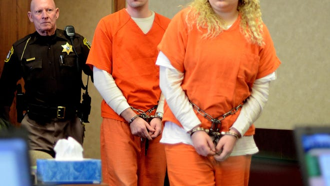 Andrew and Hilery Maison walk into the courtroom Monday, Jan. 11, during their hearing in Judge Kelly's courtroom.