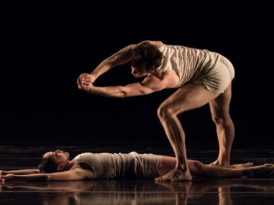 """Cincinnati Ballet dancers Sirui Liu and Daniel Wagner (standing) are seen in Ohad Naharin's """"Minus 16,"""" being performed March 17-18 at the Aronoff Center as part of """"Bold Moves."""""""