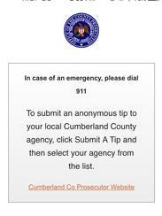 A screenshot of the new app the Cumberland County Prosecutor's