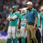 Oct 4, 2015; London, United Kingdom; Miami Dolphins coach Joe Philbin reacts on the sidelines against the New York Jets in Game 12 of the NFL International Series at Wembley Stadium. The Jets defeated the Dolphins 27-14. Mandatory Credit: Kirby Lee-USA TODAY Sports