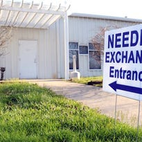 The needle exchange at the Community Outreach Center in Austin, Ind.