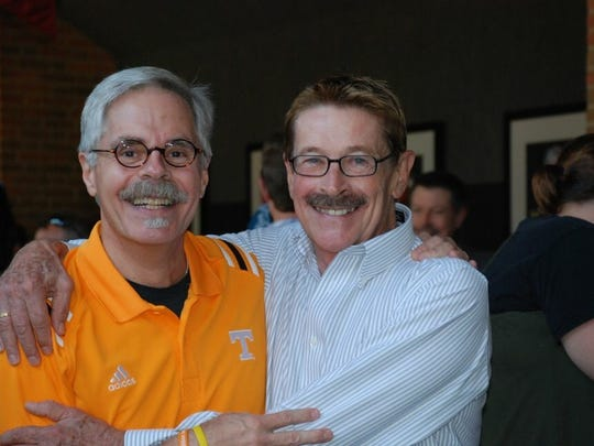 Jimmy Brimer and Tom Cervone pose for a photo at Brimer's retirement party in 2010.