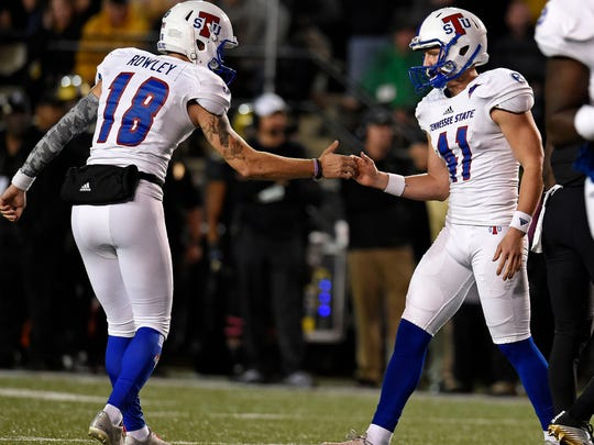 Tennessee State place kicker Lane Clark (41) is congratulated by punter Austin Rowley (18) after kicking a field goal on Saturday, Oct. 22, 2016, in Nashville, Tenn.