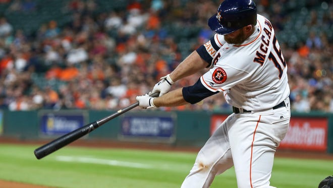 Apr 4, 2017; Houston, TX, USA; Houston Astros catcher Brian McCann (16) hits a home run during the third inning against the Seattle Mariners at Minute Maid Park. Mandatory Credit: Troy Taormina-USA TODAY Sports
