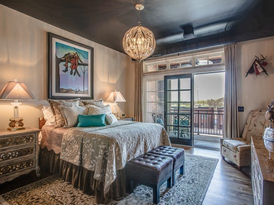 The master bedroom on the second level has its own
