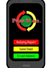 The screenshot for the reporting function of the Pass It On anti-bullying app concept developed by students at De Pere Middle School in the Verizon Innovative Learning app challenge. After earning state and regional honors, De Pere was named the winner of the national Fan Favorite vote Thursday, Feb. 16, 2017.