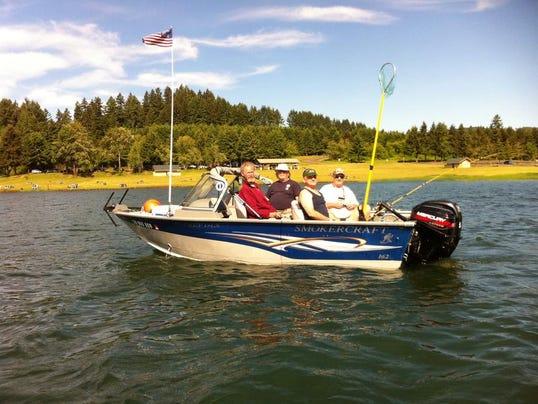 Group salutes military with hagg lake fishing for Henry hagg lake fishing