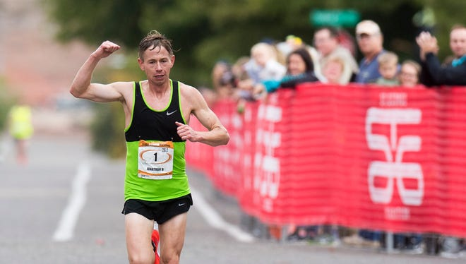 Jonathan Kotter wins the 42nd annual St. George Marathon with a time of 2:16:18.26 on Saturday, October 6, 2018.