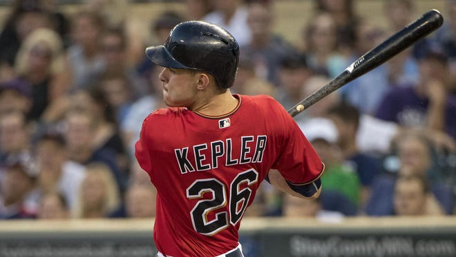 Aug 9, 2016; Minneapolis, MN, USA; Minnesota Twins right fielder Max Kepler hits a single in the fourth inning against the Houston Astros at Target Field.