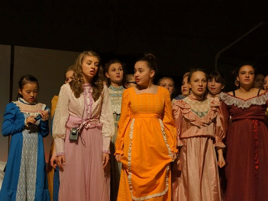 "Tipler Middle School seventh- and eighth-grade chorus students presented ""Pirates of Penzance Jr.,"" which included a large cast of pirates and daughters."