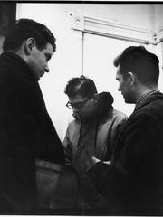 An undated photo showing (left to right) David Amram, Allen Ginsberg and Jack Kerouac.