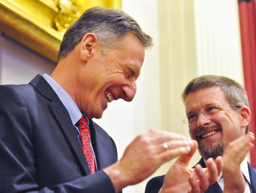 Gov. Peter Shumlin (left) enjoys a laugh with Speaker
