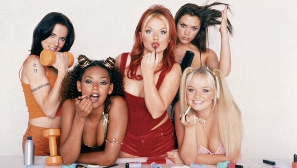 The Spice Girls, from left: Melanie C. (Sporty Spice), Melanie Brown (Scary Spice), Geri Horner (Ginger Spice), Victoria Beckham (Posh Spice) and Emma Bunton (Baby Spice).