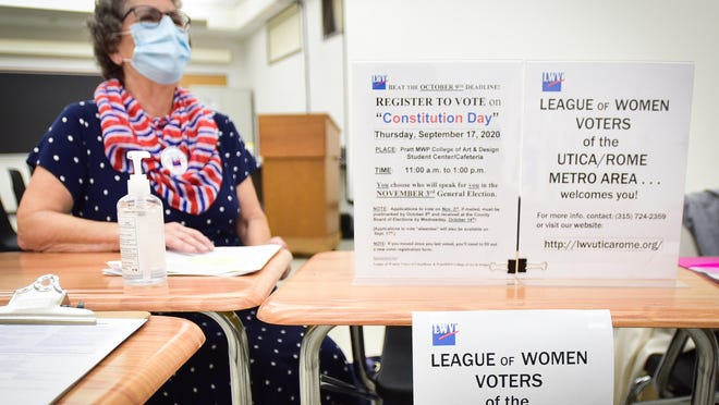 In-person voter registration took place from 11 a.m. to 2 p.m. Thursday at Munson-Williams-Proctor Arts Institute in Utica.