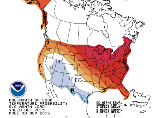 The one-month outlook for temperatures in southeast Michigan is above normal, according to the National Weather Service.