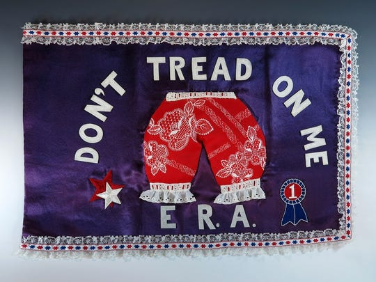 """Equal Rights Amendment flag created by Betty Ford's former secret service agents, Dick Hartwig and Rick Sardo, is among more than 150 items making up the """"In Step with Betty Ford"""" exhibit."""
