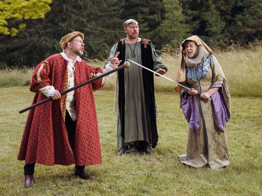The prince (Robert Craighead, middle) tries to break up a battle between Capulet (Fred Saas, left) and Montague (Victoria Brown).
