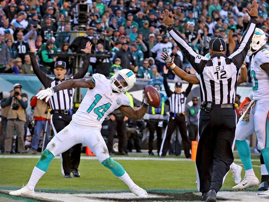 Miami Dolphins receiver Jarvis Landry had 112 receptions for 987 yards in 2017.