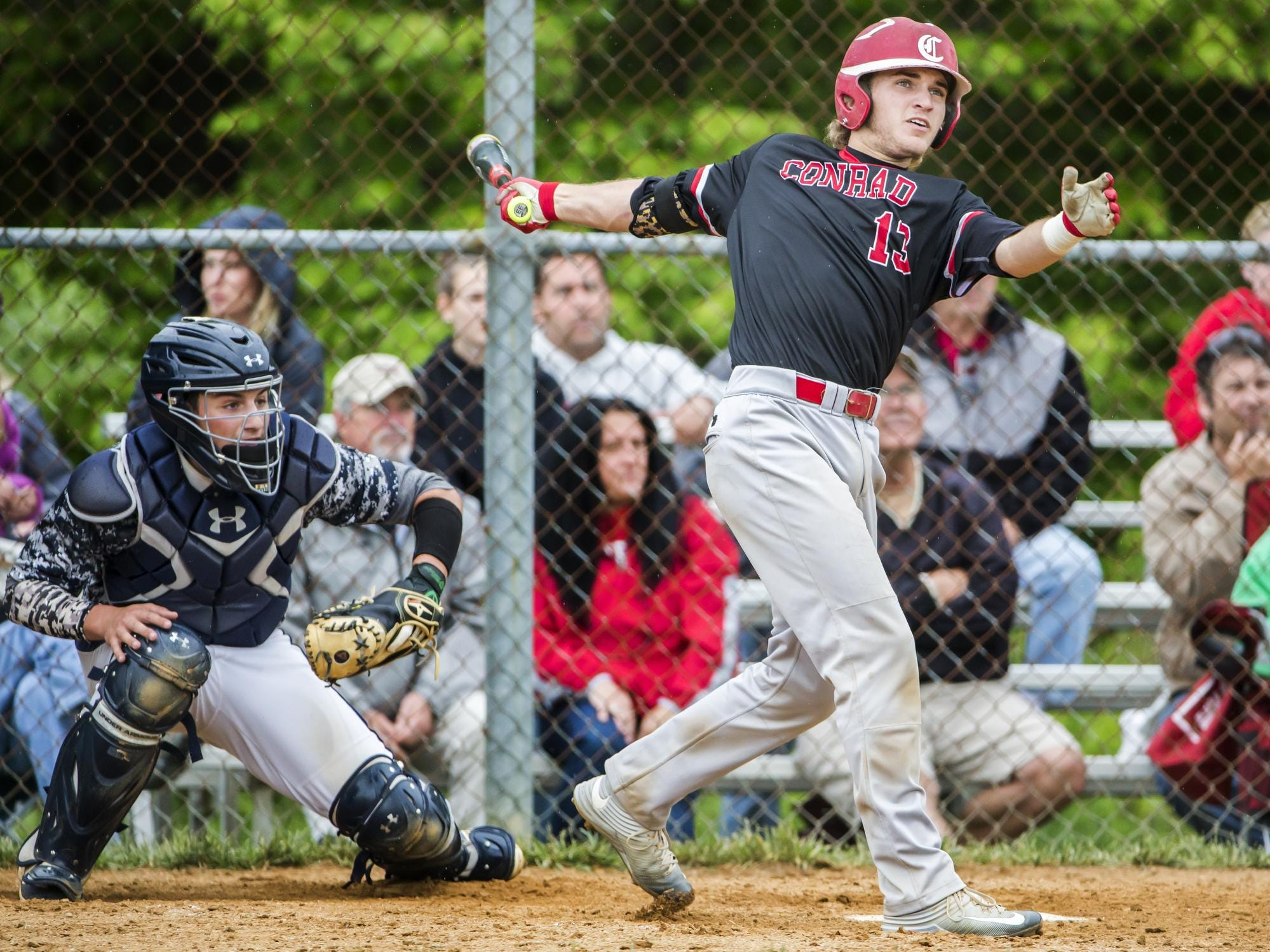 Conrad's Brock Nowell watches as his home run leaves the field in the fourth inning of Conrad's 1-0 win over Delaware Military Academy in Newark on Tuesday afternoon.