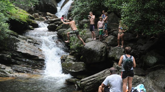 Skinny Dip Falls is a favorite swimming spot on a trail opposite the Looking Glass Rock overlook at milepost 417 of the Blue Ridge Parkway as seen in this file photo. But actual skinny dipping is not allowed.