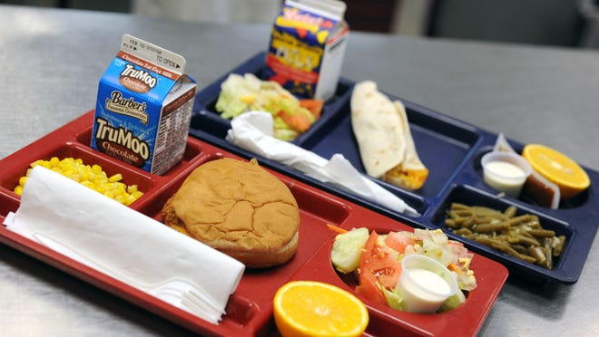 Lunch plates at N.B. Cook Elementary School of the Arts. Breakfast and lunch prices will increase for elementary students in the Escambia County School District next year.