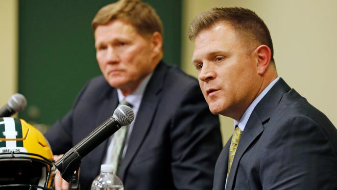Green Bay Packers' general manager Brian Gutekunst, right, speaks as team president Mark Murphy looks on during a press conference at Lambeau field in Green Bay, Wisc., Monday, Dec. 3, 2018. The Packers fired head coach Mike McCarthy after a loss to the Arizona Cardinals on Sunday. (AP Photo/Mike Roemer) ORG XMIT: WIMR103