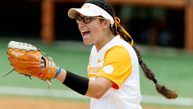 Tennessee's Matty Moss (1) celebrates after an out during an NCAA Regionals softball finals game between Tennessee and Longwood at Sherri Parker Lee Stadium in Knoxville, Tennessee on Sunday, May 21, 2017.