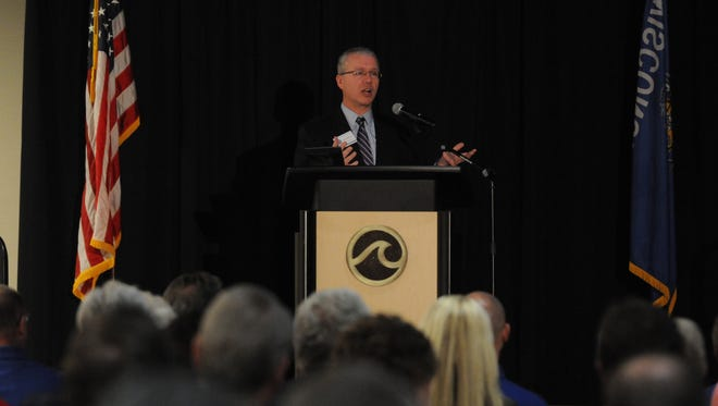 Oshkosh City Manager Mark Rohloff delivers his State of the City address on March, 31, 2014, at the Oshkosh Convention Center.