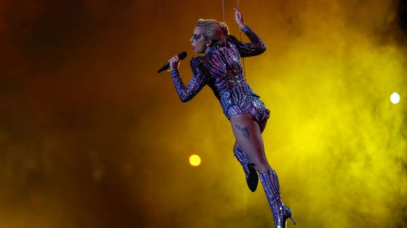 Feb 5, 2017; Houston, TX, USA; Lady Gaga performs during the halftime show during Super Bowl LI at NRG Stadium. Mandatory Credit: Kevin Jairaj-USA TODAY Sports ORG XMIT: USATSI-348602 ORIG FILE ID: 20170205_ajw_aj6_177.jpg