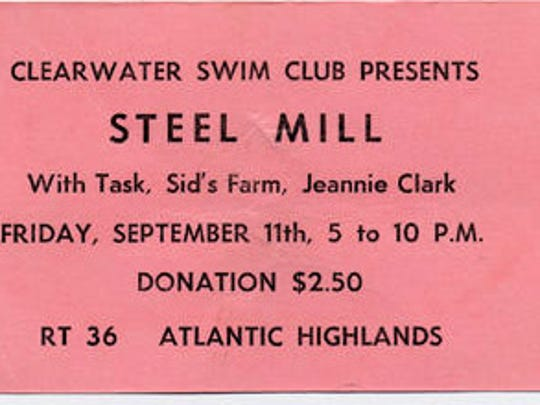 Ticket from Steel Mill's infamous concert at the Clearwater Swim Club on Sept. 11, 1970, that ended with a melee involving fans, band members and the Middletown police.