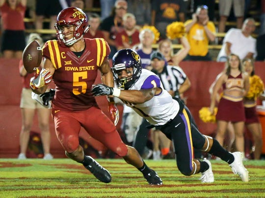 Iowa State wide receiver Allen Lazard (5) bobbles a pass in the end zone in front of Northern Iowa defensive back ElijahCampbell (1) during the second half Saturday, Sept. 2, 2017, at Jack Trice Stadium in Ames, Iowa. ISU defeated UNI 42-24.