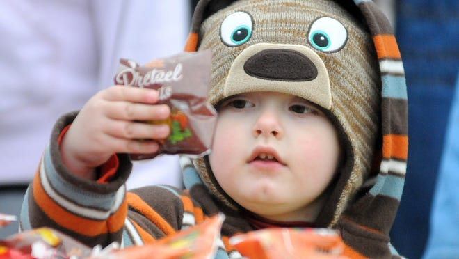 This year's trick-or-treat hours in Bucyrus will be 5 to 7 p.m. Oct. 3. This little trick-or-treater was photographer in 2014.
