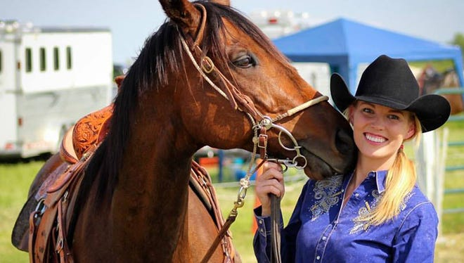 Katelin Bradley, serving as Miss Rodeo Wisconsin in 2017, is pictured with her off-track-thoroughbred (OTTB) Corybant.