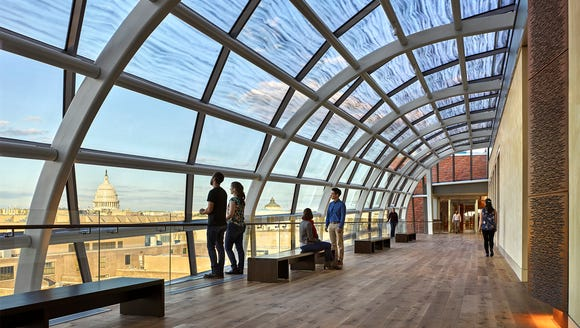 The galley lobby skylight encloses pref-unction lobby