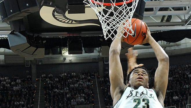 Deyonta Davis goes up for a shot during MSU's win over Florida on Saturday.