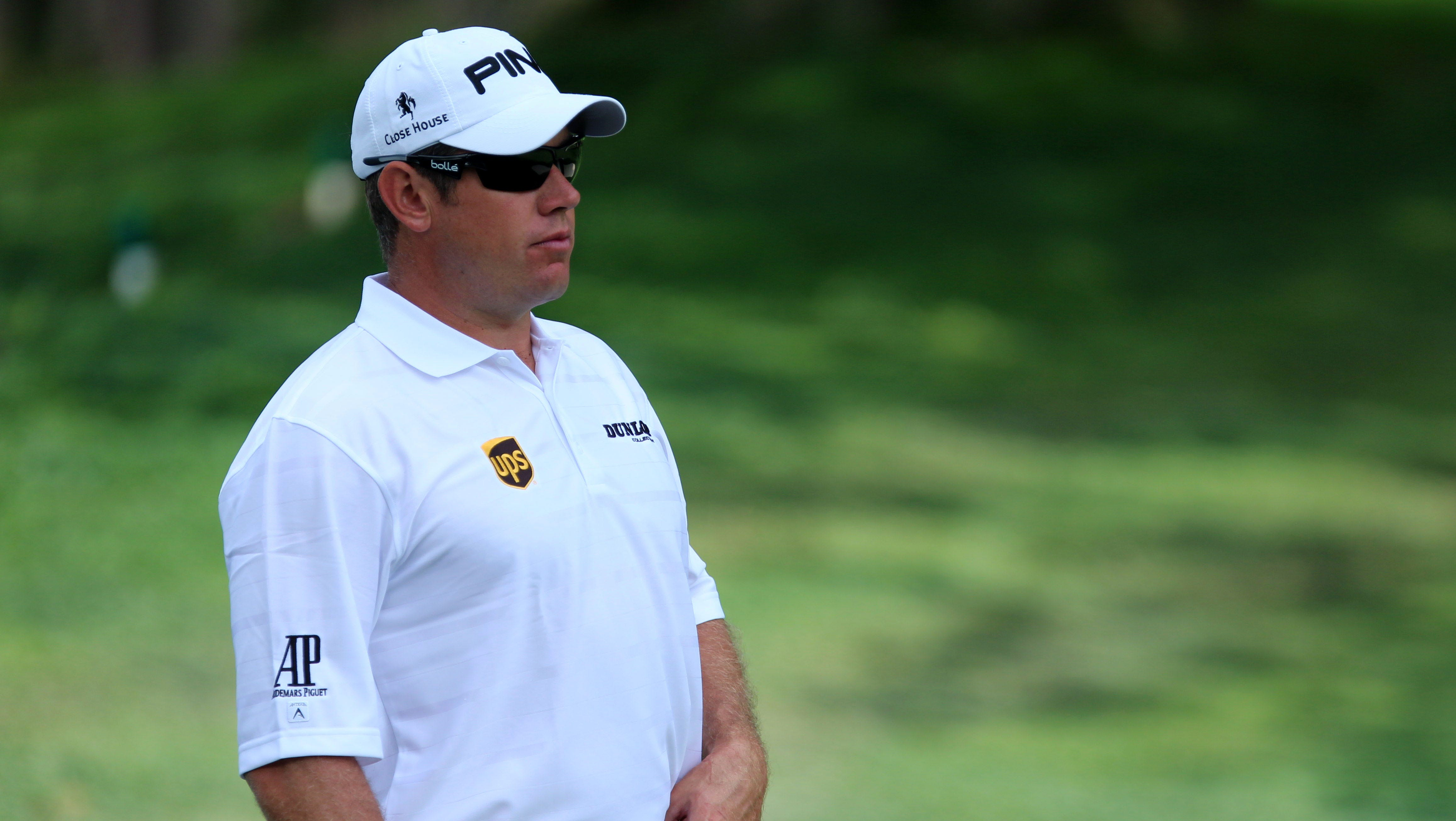 Lee Westwood on the practice range during the practice round of the 95th PGA Championship at Oak Hill Country Club.